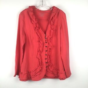 NEON BUDDHA Women's Coral Button Up Sweater L